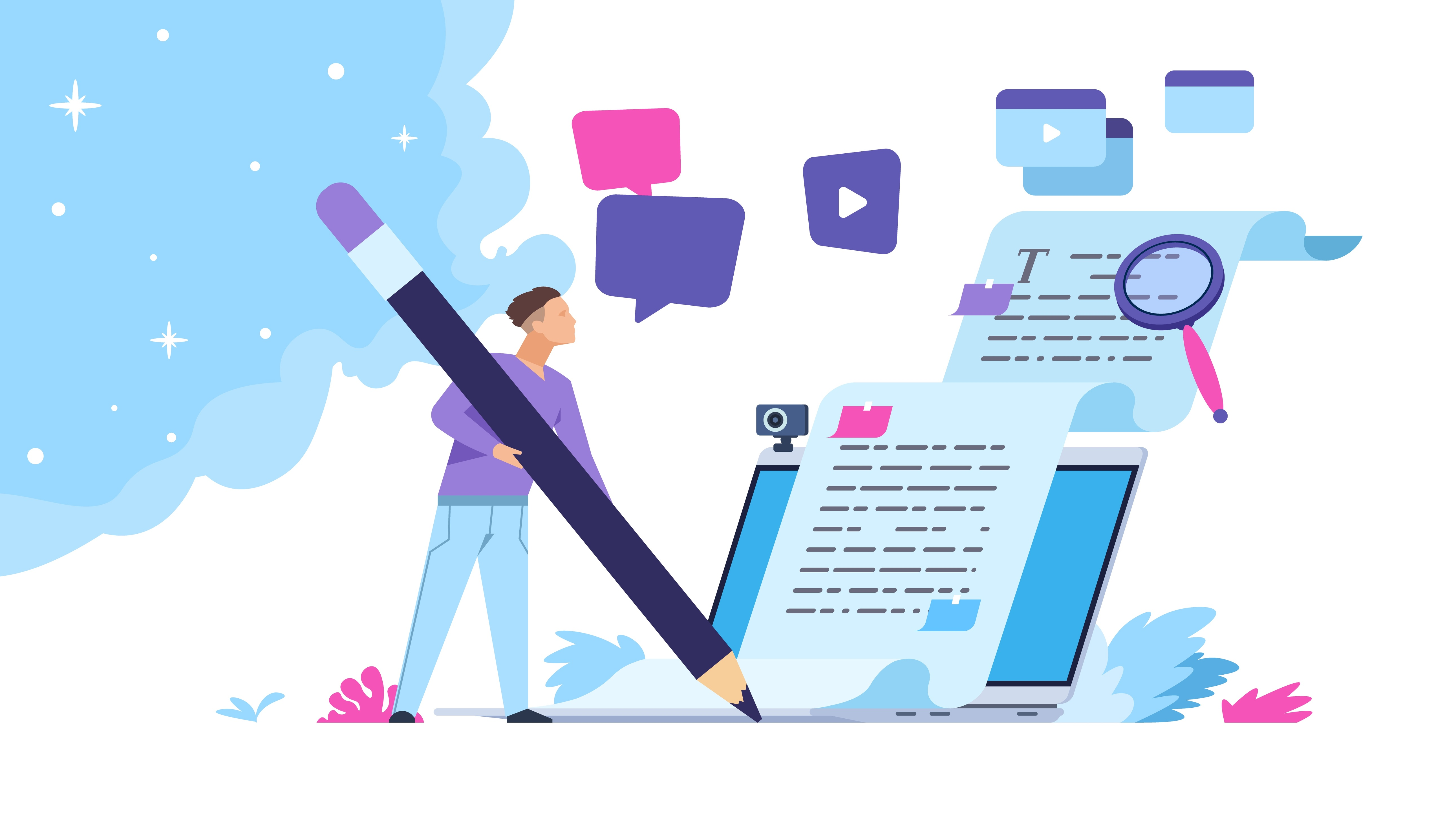 Vector illustration creative online blog image with pencil and essays