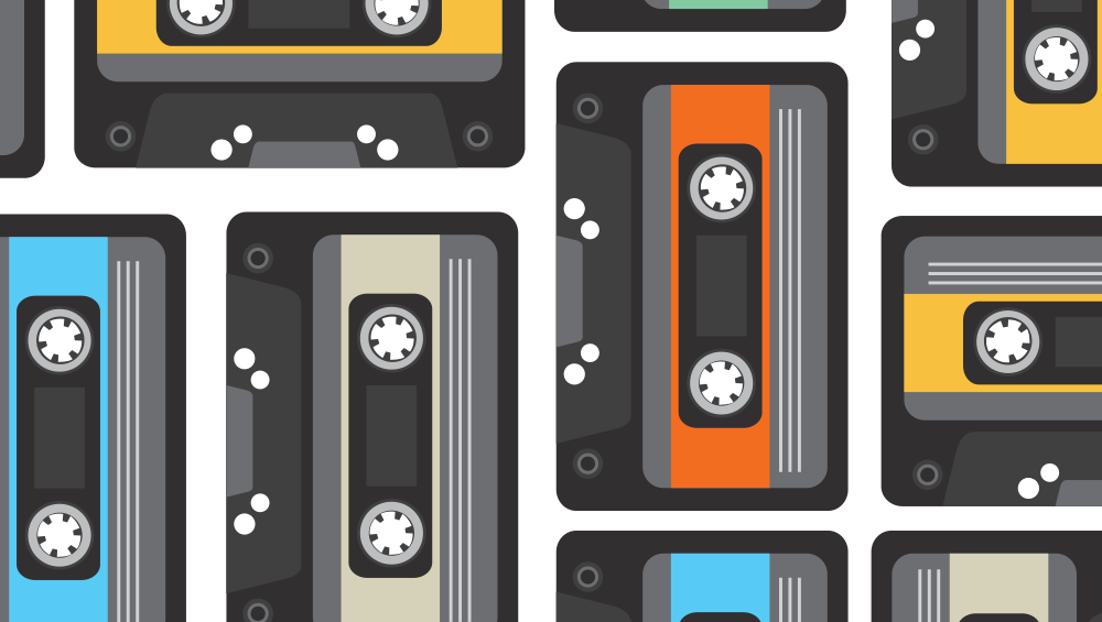 retro collage of cassette tapes