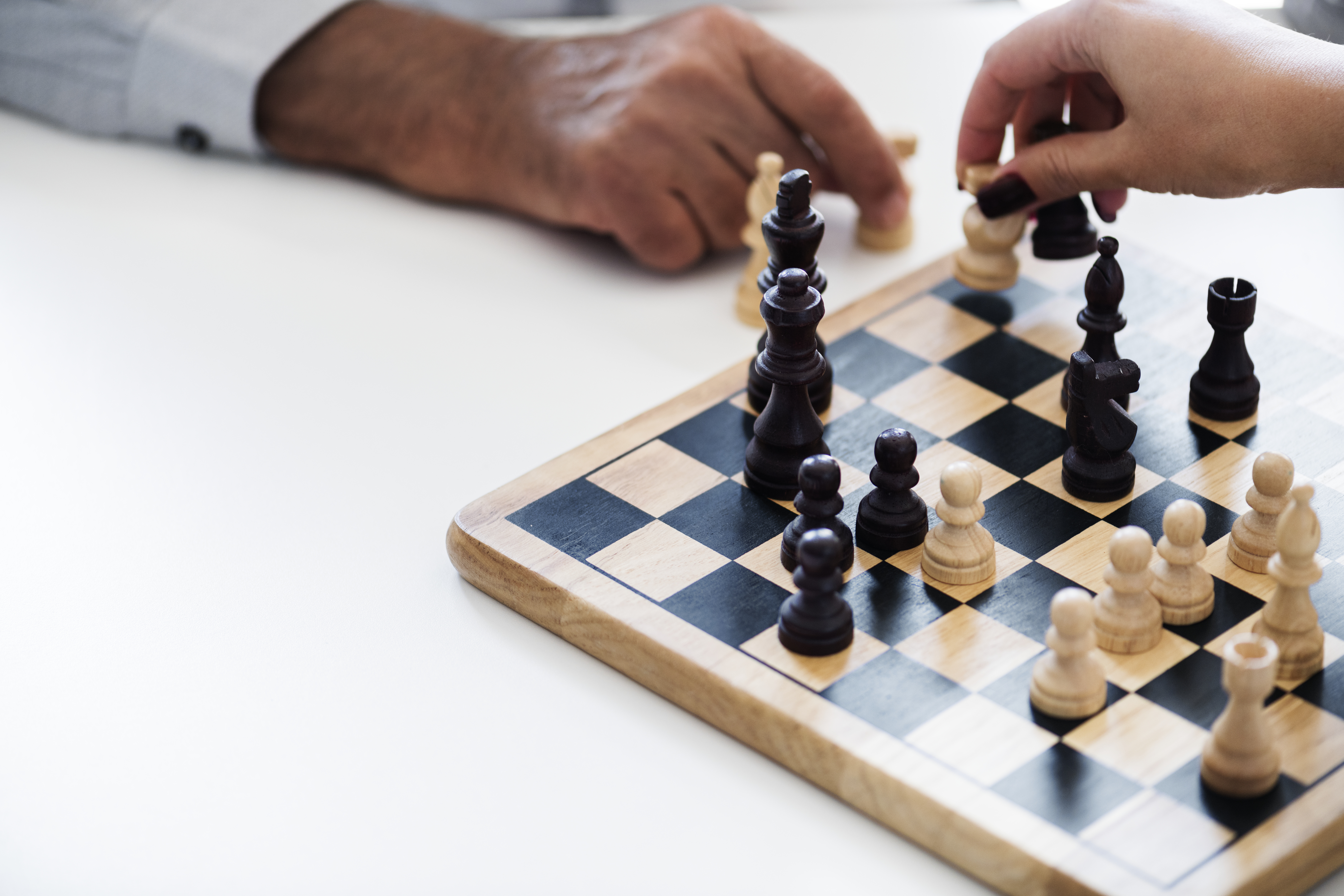 Chess game showing two players competing