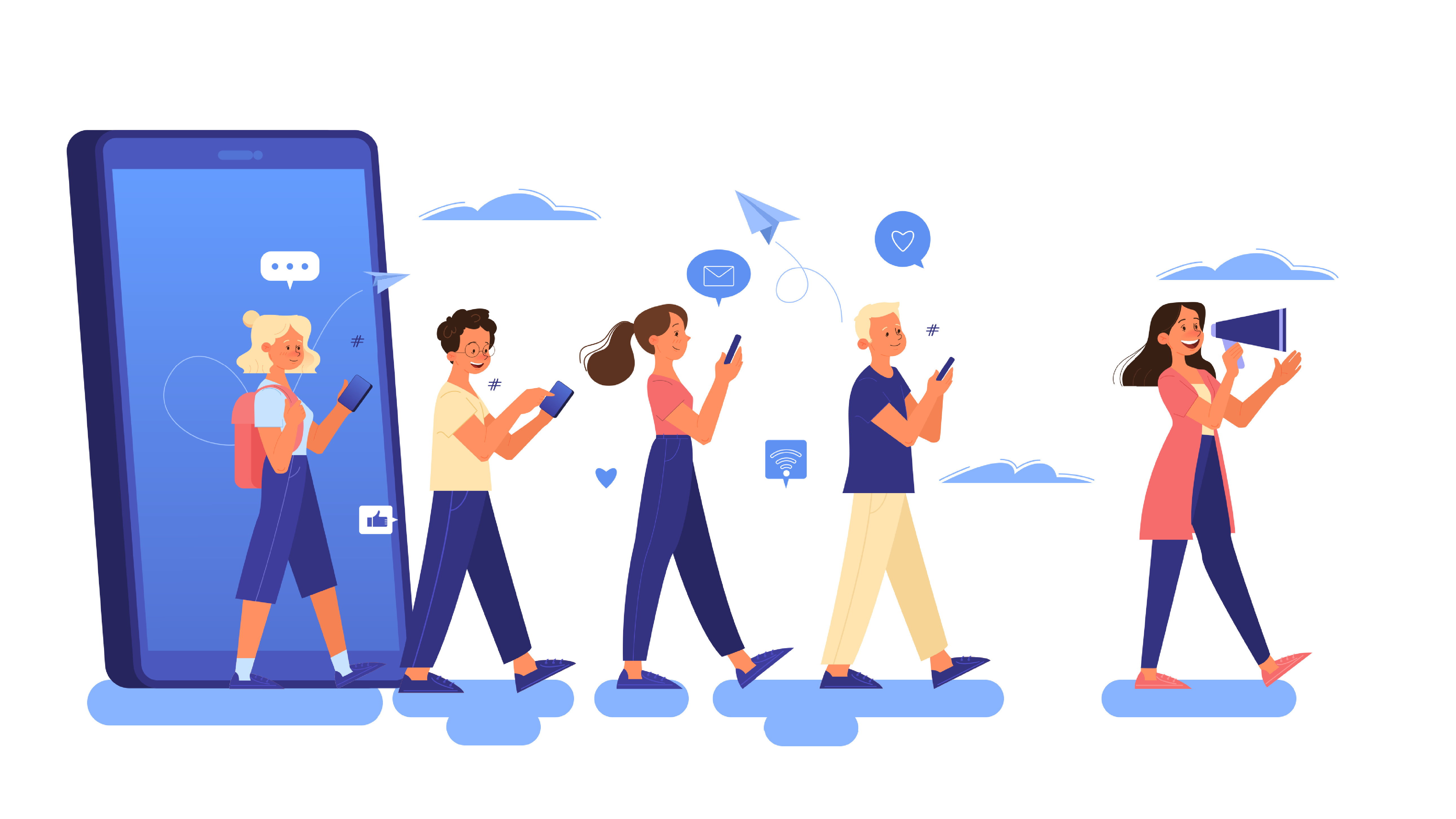 Illustration of people using cell phones with social media icons and thought bubbles