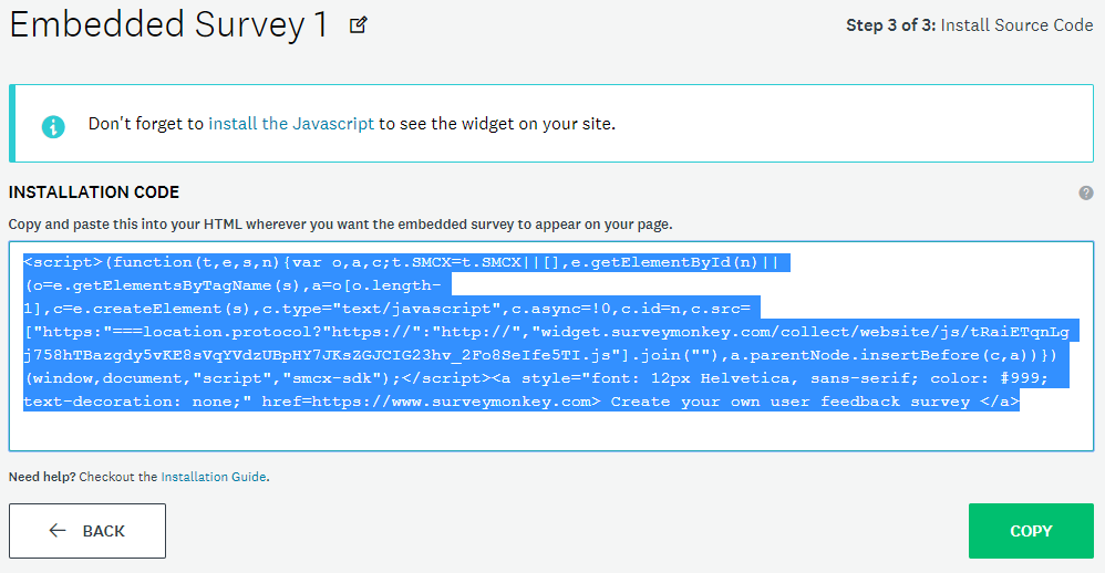 Embed code provided by SurveyMonkey