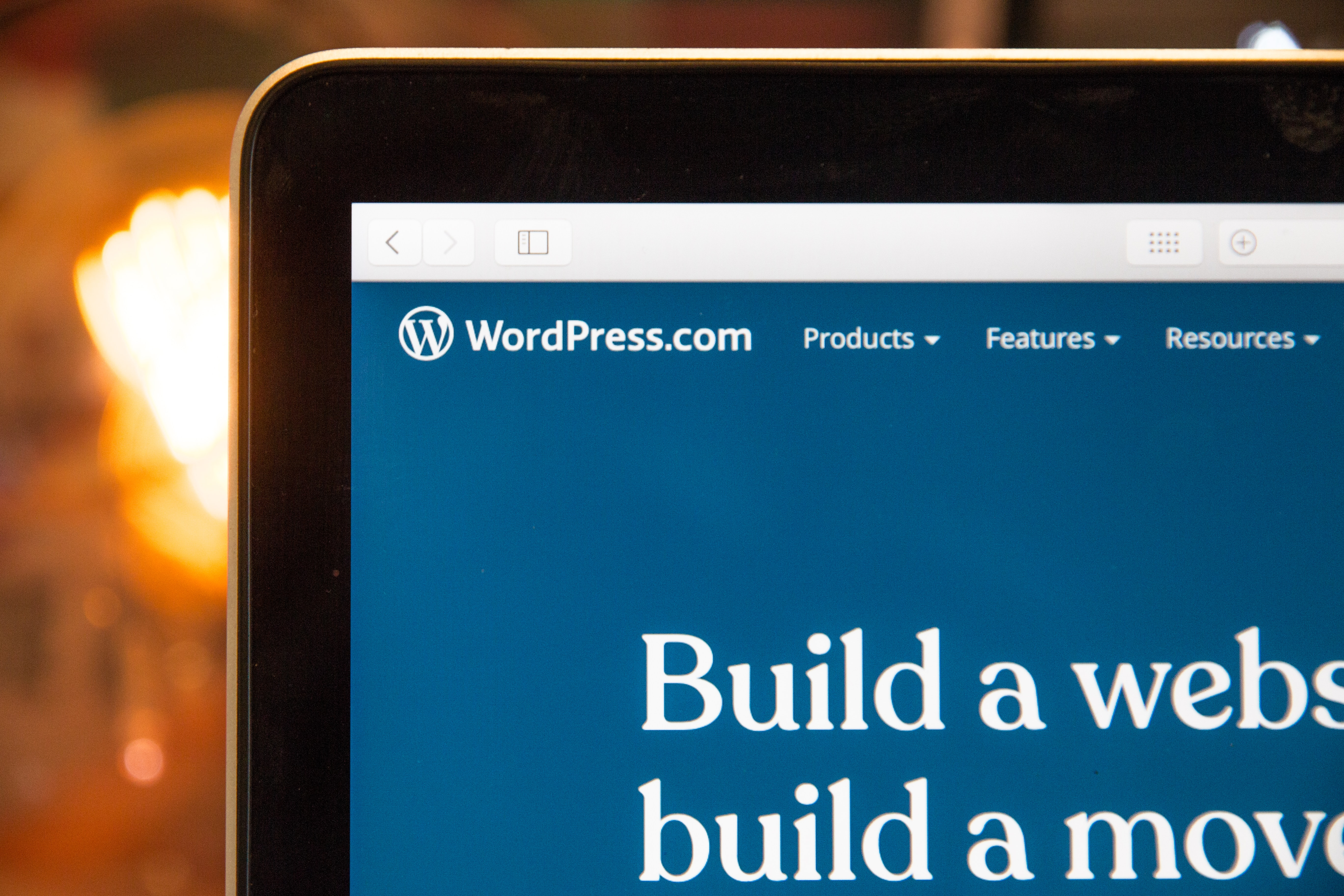 Wordpress homepage on laptop screen