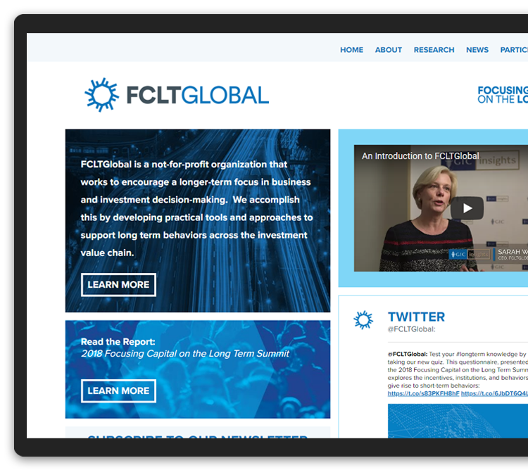 FCLTGlobal's website displayed on a tablet