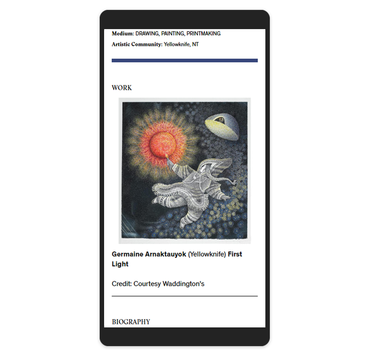 Inuit Art Foundation's website displayed on a mobile
