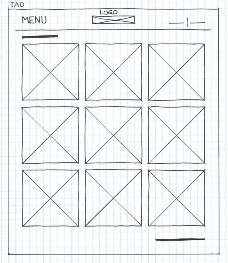 Inuit Art Foundation's website's hand drawn wireframe