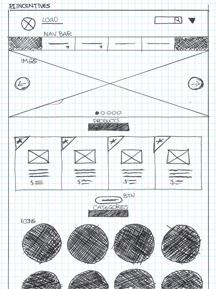 PI Incentives website's hand drawn wireframe